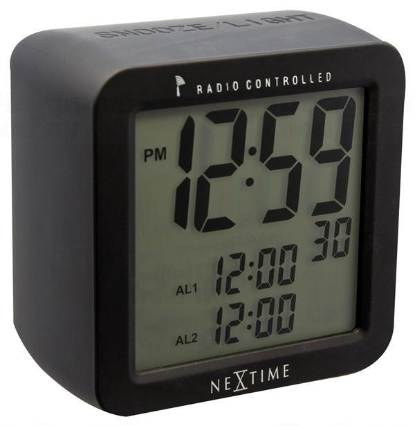 NeXtime Designové stolní digitální hodiny řízené signálem DCF 5201zw Nextime Square Alarm 10cm