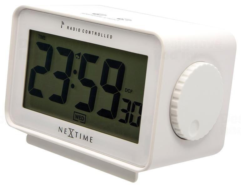 NeXtime Designové stolní digitální hodiny řízené signálem DCF 5202wi Nextime Easy Alarm 13cm