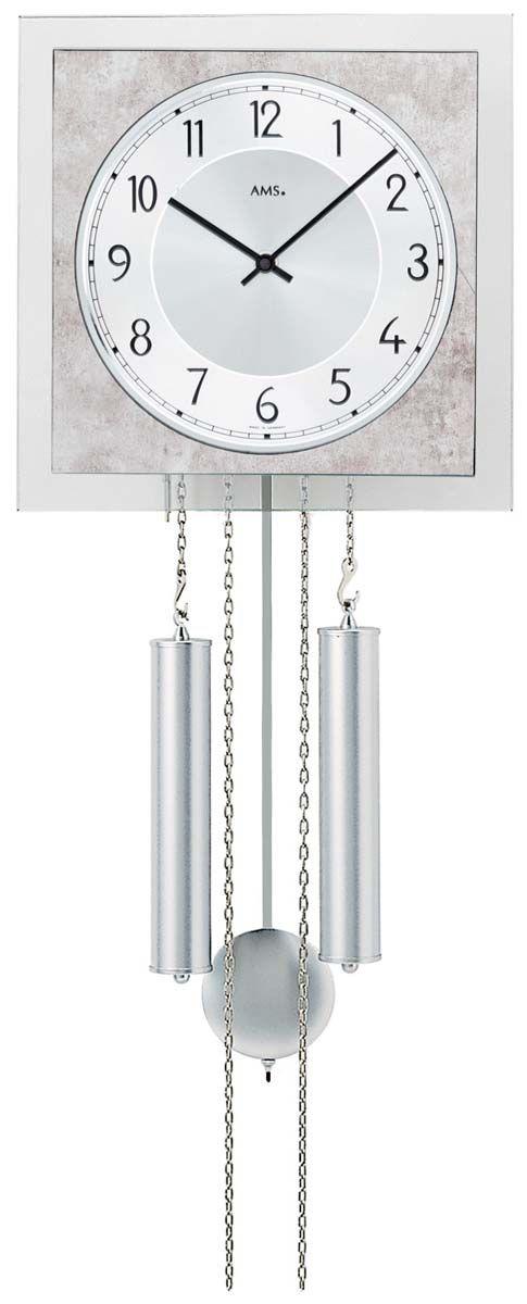 Luxusní mechanické nástěnné hodiny ams 344 čtvercové s nastavitelným bitím BimBam