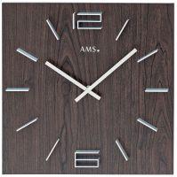 Designové nástěnné hodiny hranaté ams 9593 tmavá hnědá