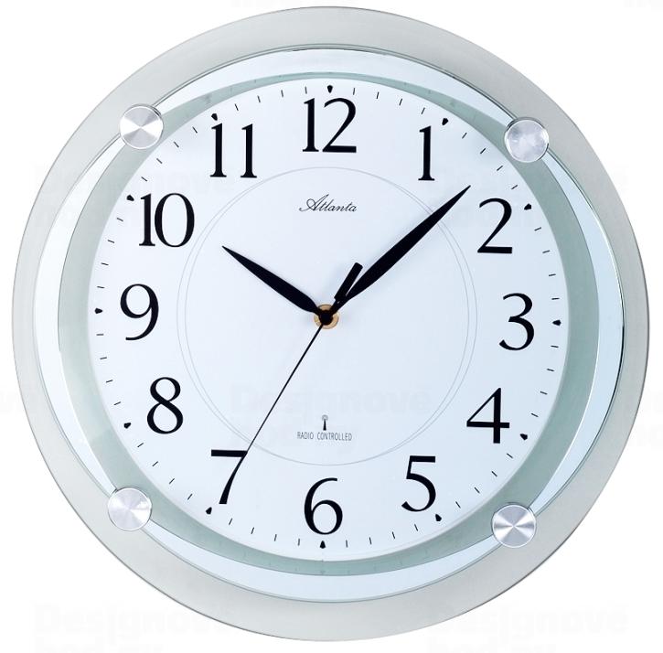 Atlanta Designové nástěnné hodiny AT4297-19 řízené signálem DCF