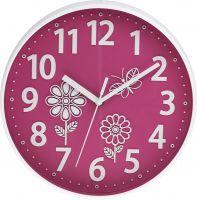 Decentní dětské hodiny pro holky s motivem jara v růžové a oranžové barvě..0130