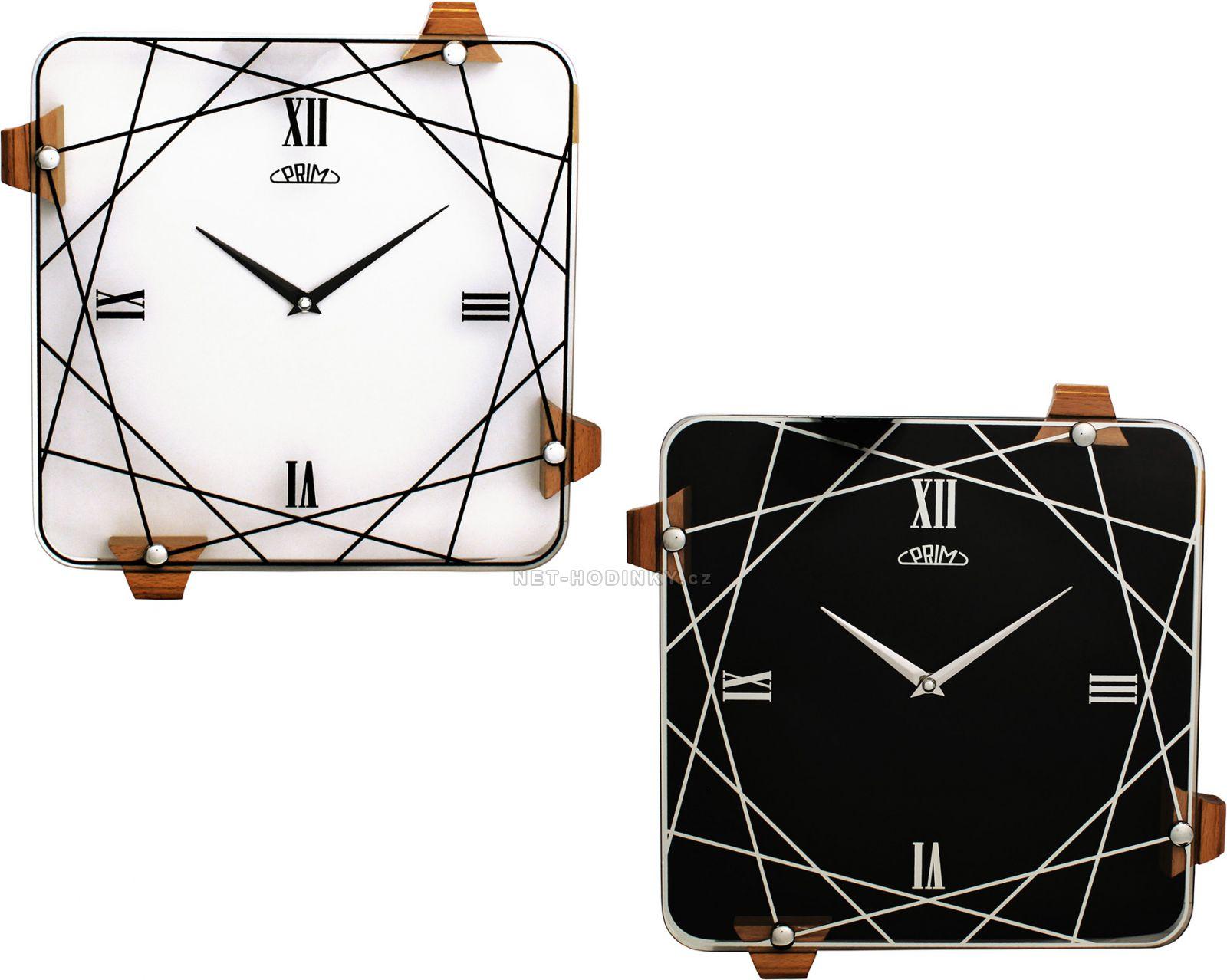 Nástěnné skleněné hodiny PRIM s moderním dekorem 00 - bílá