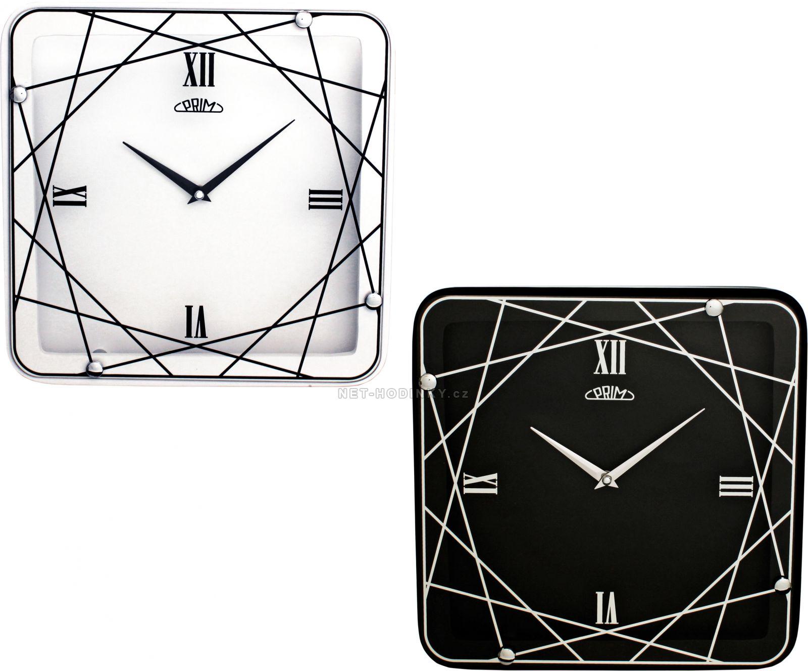 Nástěnné skleněné hodiny PRIM 00 - bílá