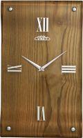 Nástěnné dřevěné hodiny PRIM se skleněným ciferníkem v elegantním stylu E07P.3058