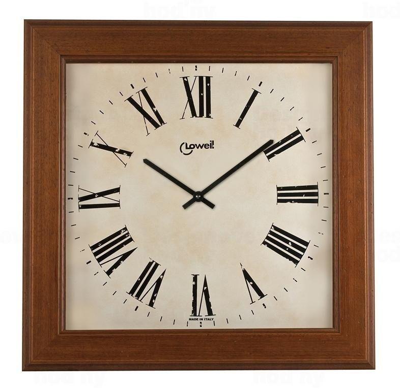 Lowell Italy Velké, čtvercové nástěnné hodiny dřevěné Lowell 11034