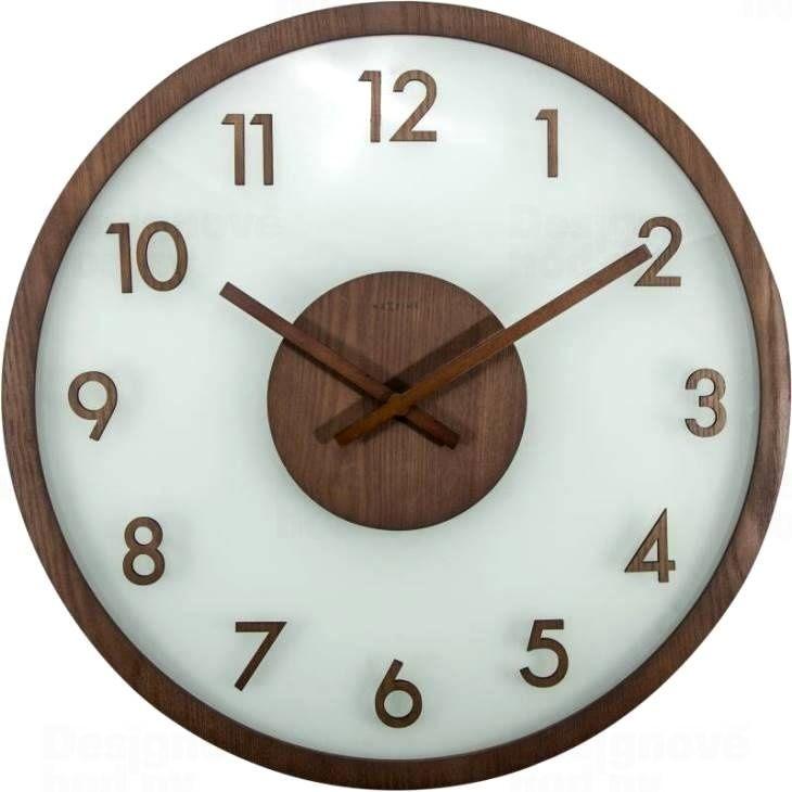 NeXtime Designové nástěnné hodiny 3205br Nextime Frosted Wood 50cm
