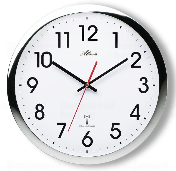 Rádiem řízené nástěnné hodiny kovové Atlanta AT4219-19
