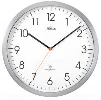 Designové nástěnné hodiny AT4382-4 stříbrné řízené signálem DCF