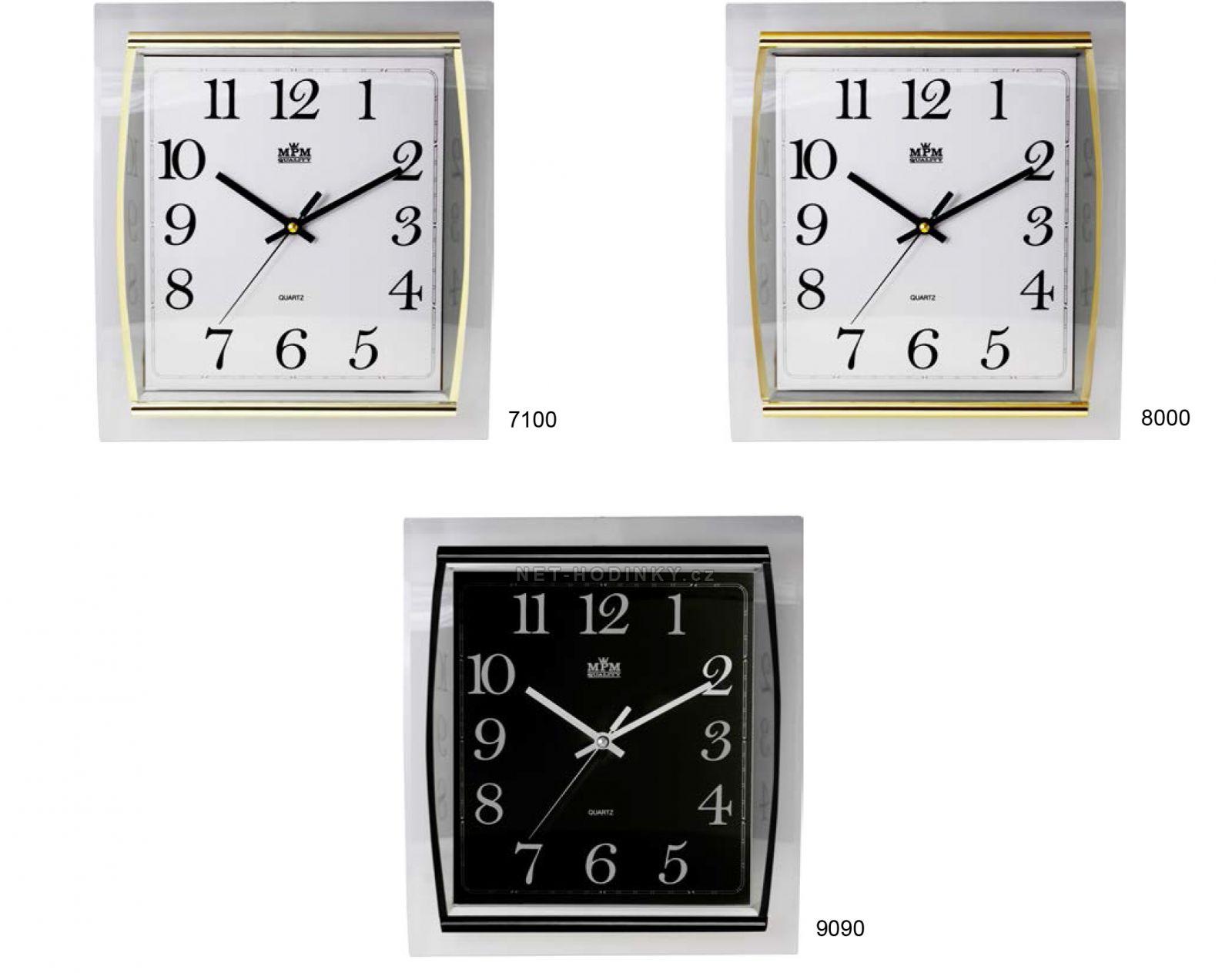 Hranaté nástěnné hodiny s plynulým chodem E01.3174