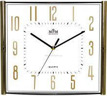 Elegantní plastové nástěnné hodiny ve zlatém/stříbrném decentním rámečku E01.3175