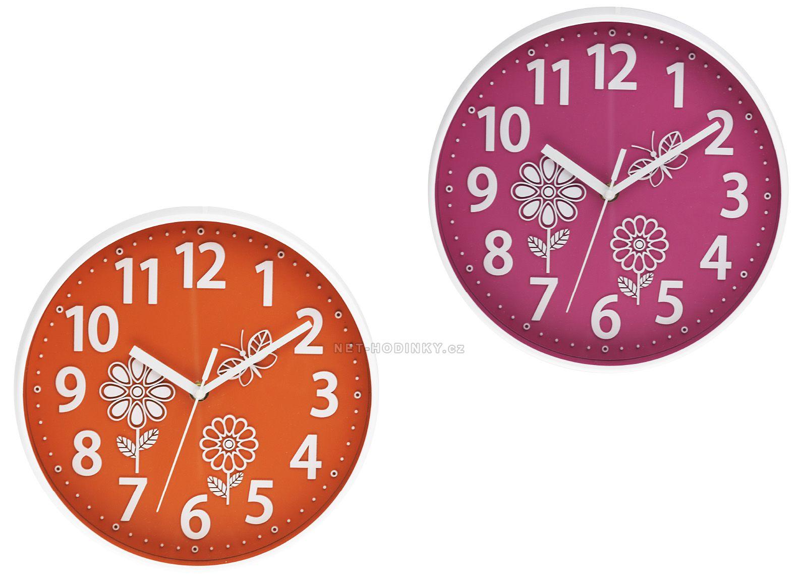 Nástěnné hodiny na stěnu kulaté růžové, nástěnné hodiny na zeď pro děti oranžové 23 - růžová