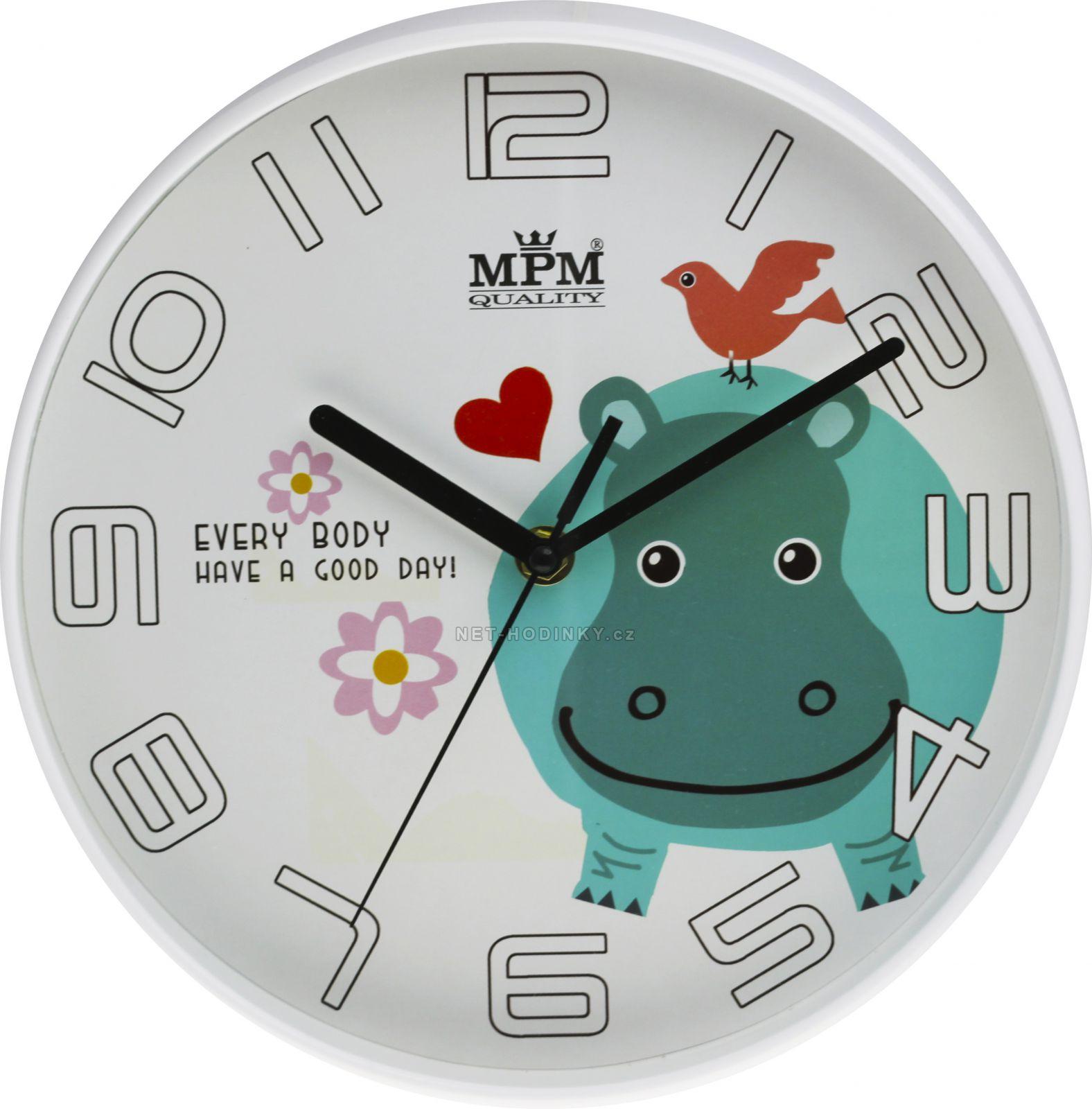 Veselé dětské nástěnné hodiny s hrochem E01.3232