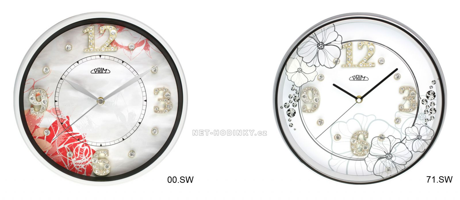 Nástěnné hodiny kovové s plynulým chodem PRIM 00.SW - bílá