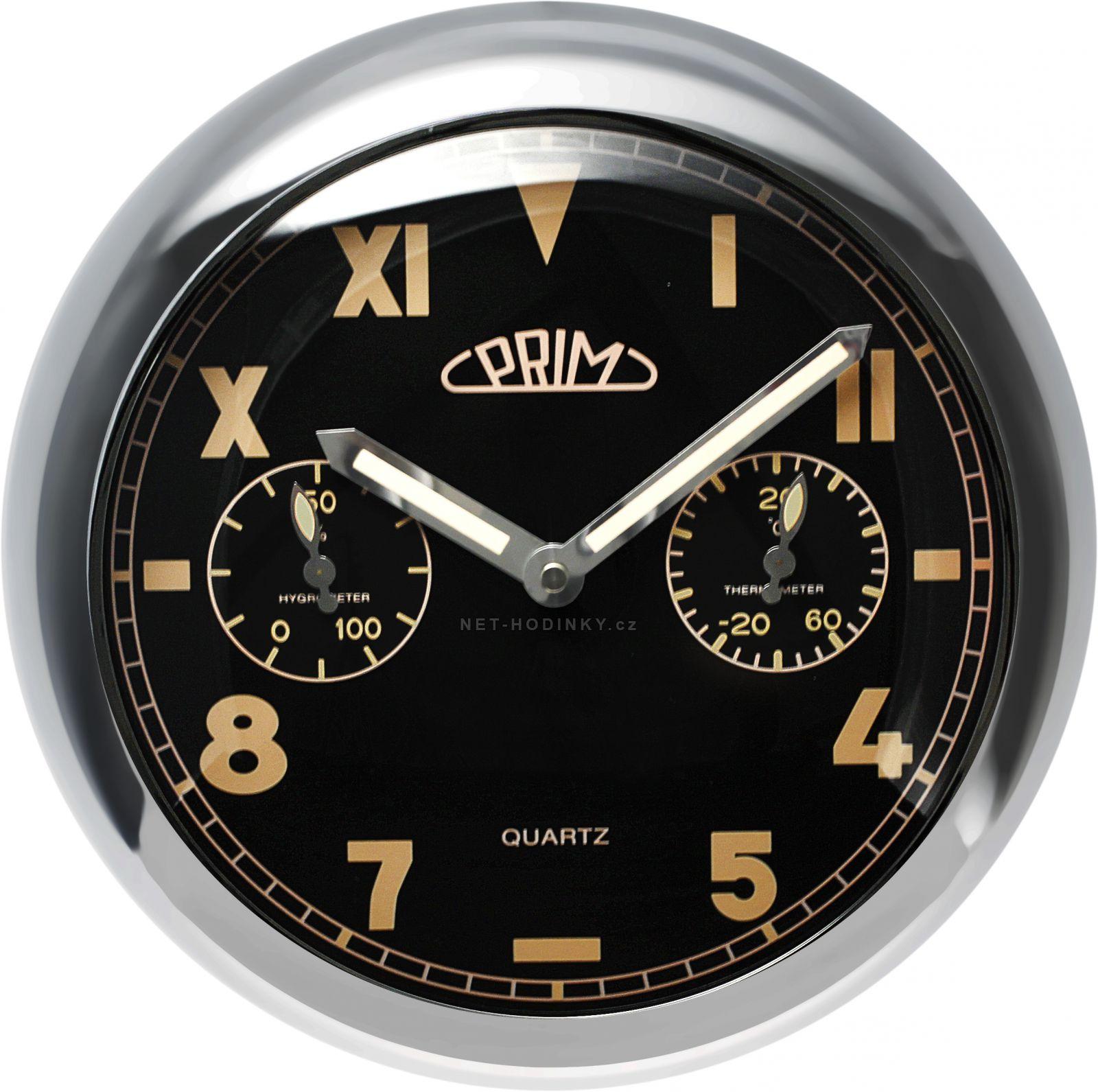 Kovové nástěnné hodiny PRIM s teploměrem a vlhoměrem 7190 - stříbrná lesklá/černá