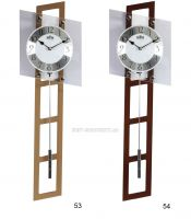 Designové dřevěné hodiny s kyvadlem a prvky minerálního skla E05.3187