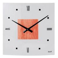 Nástěnné skleněné hodiny čtverec oranžová