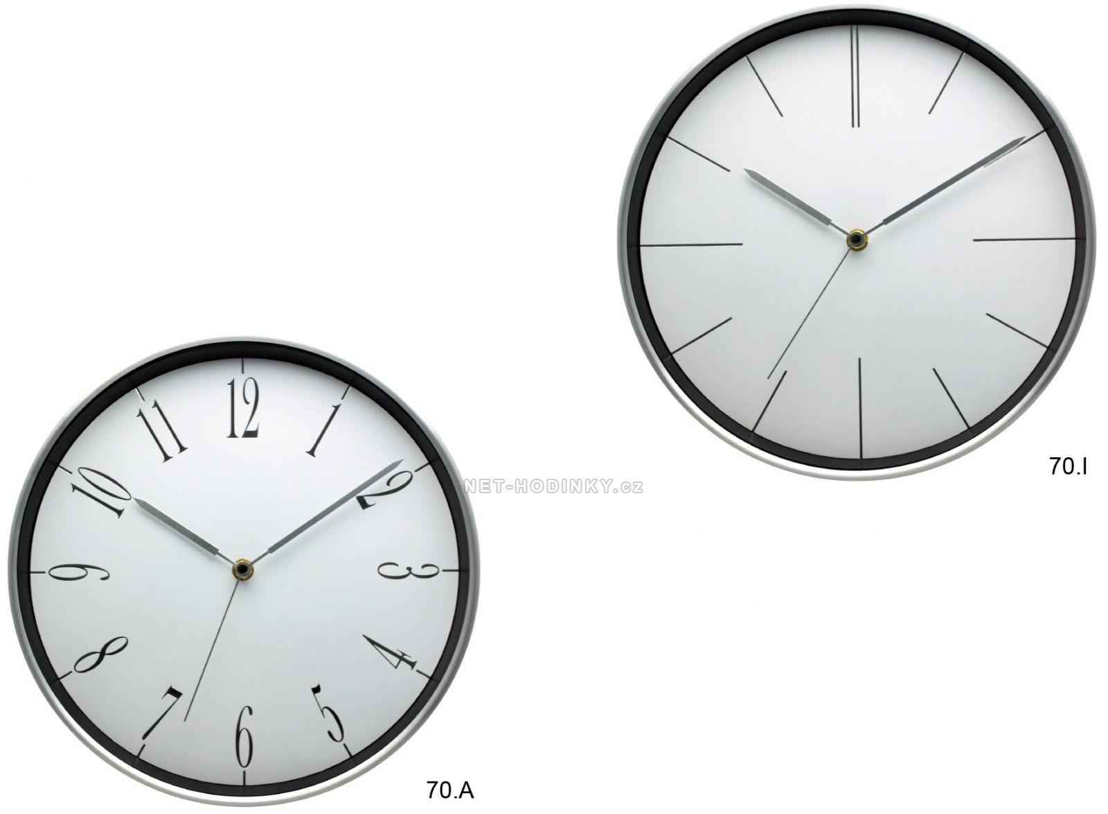 Nástěnné hodiny kulaté na stěnu, nástěnné hodiny na zeď kovové 70.A - stříbrná