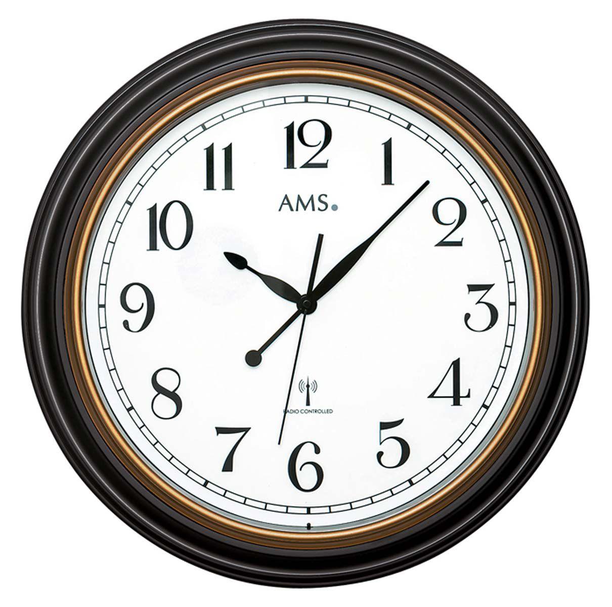 AMS Nástěnné hodiny kulaté na stěnu, nástěnné hodiny na zeď velké řízené rádiem