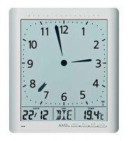 Nástěnné hodiny rádiem řízené AMS 5898 quartzové hranaté