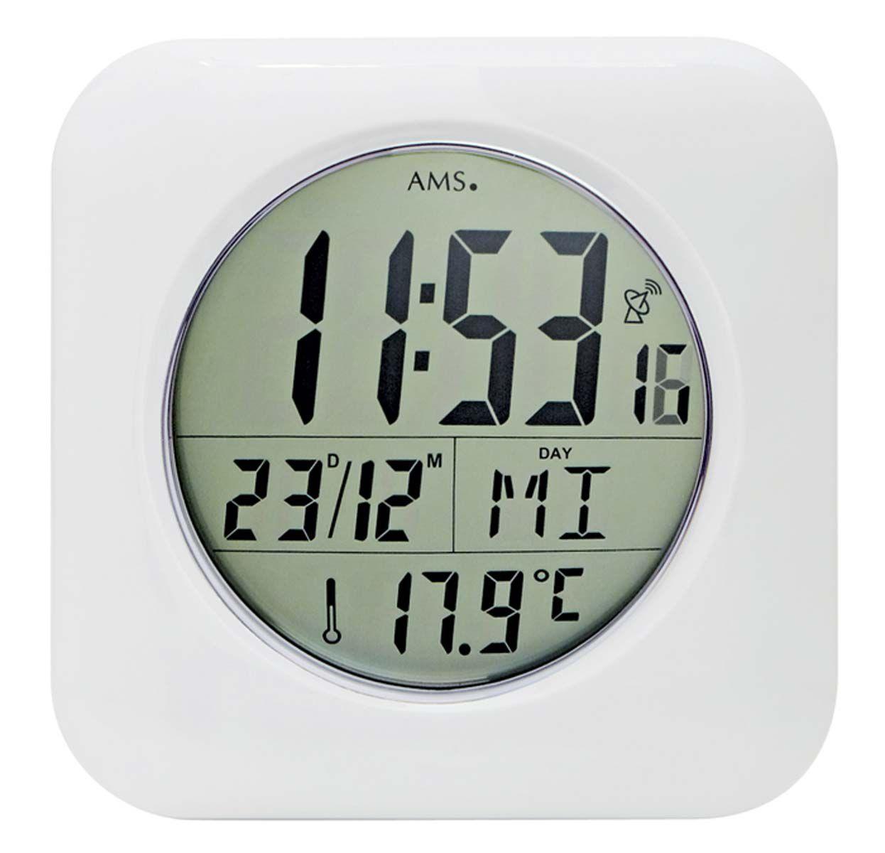 AMS Nástěnné hodiny digitální na stěnu, nástěnné hodiny na zeď vlhkuvzdorné