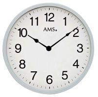 kulaté nástěnné hodiny stříbrná ams 9493