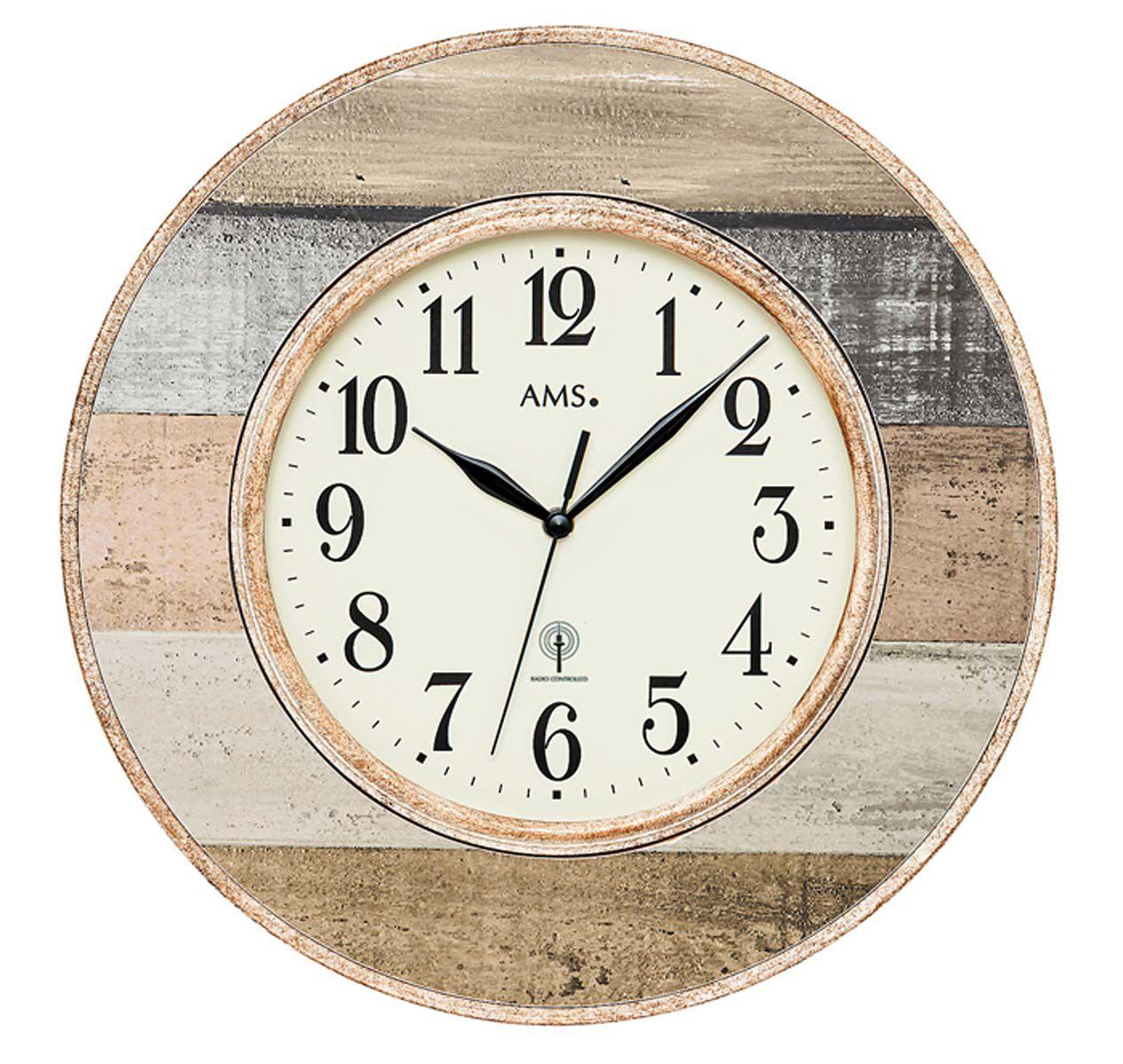 AMS Nástěnné hodiny kulaté na stěnu, nástěnné hodiny na zeď velké imitace dřeva