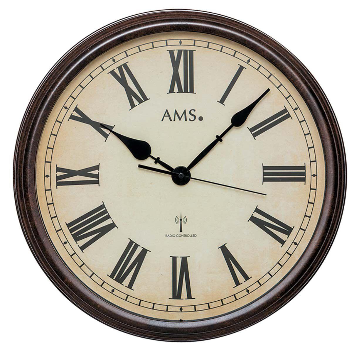Kovové nástěnné retro hodiny AMS 5977 rádiem řízené, velké kulaté hodiny vhodné do kanceláře