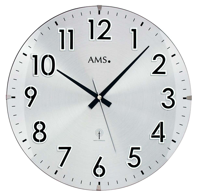 AMS Nástěnné hodiny kyvadlové na stěnu, nástěnné hodiny na zeď stříbrná