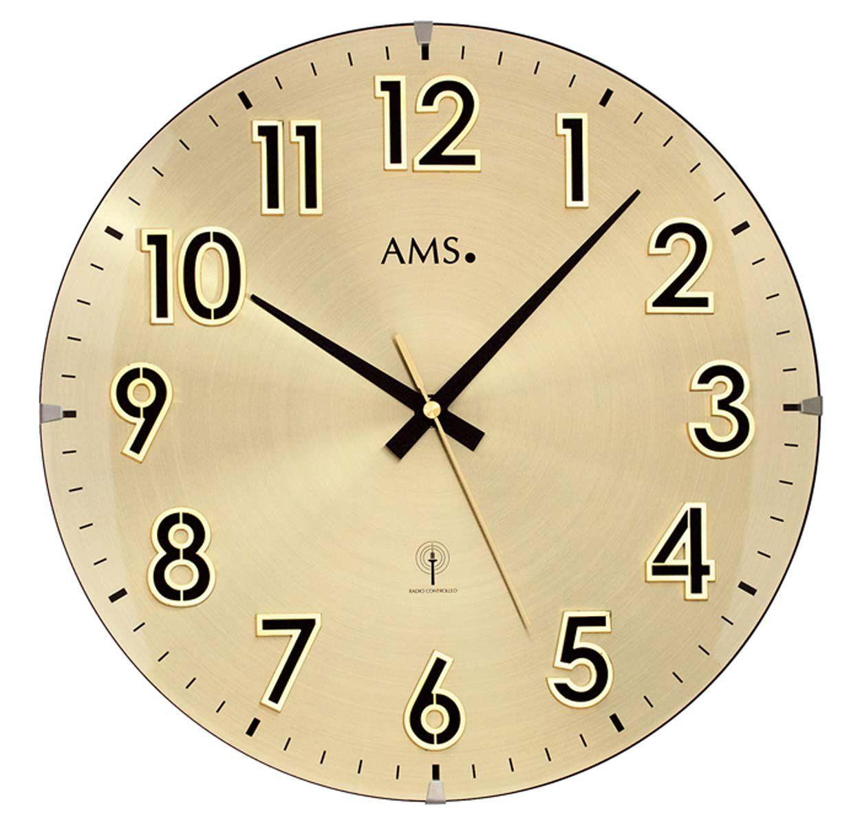 AMS Nástěnné hodiny kyvadlové na stěnu, nástěnné hodiny na zeď zlatá