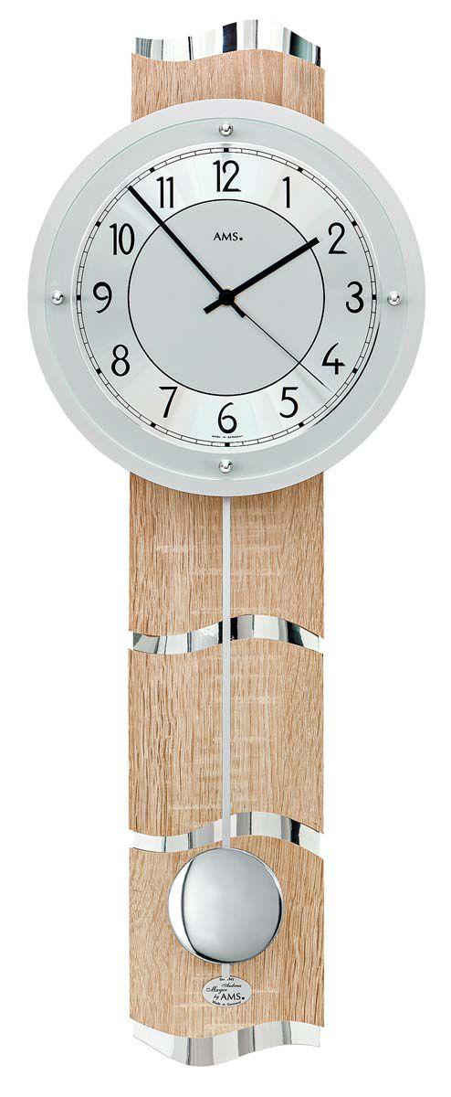 Nástěnné kyvadlové hodiny rádiem řízené AMS 5214 quartz