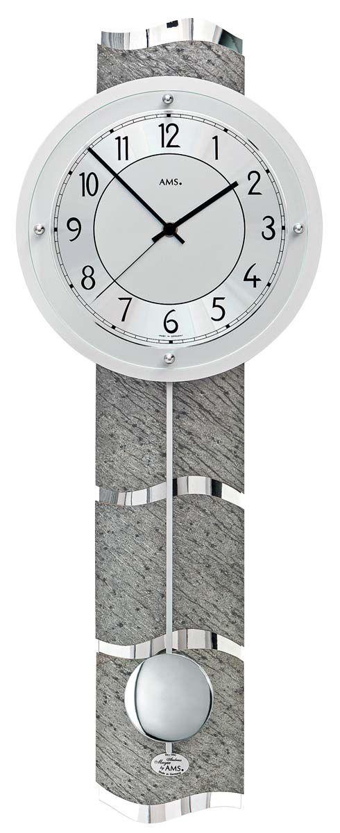 Designové nástěnné hodiny kyvadlové řízené rádiem AMS 5216