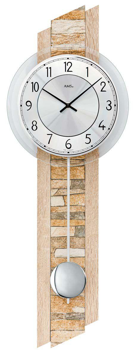 AMS Nástěnné hodiny kyvadlové na stěnu, nástěnné hodiny na zeď přírodní kámen