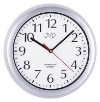 Nástěnné vodotěsné plastové hodiny do bazénové haly, kulaté hodiny do koupelny SH494.1 stříbrná barva JVD
