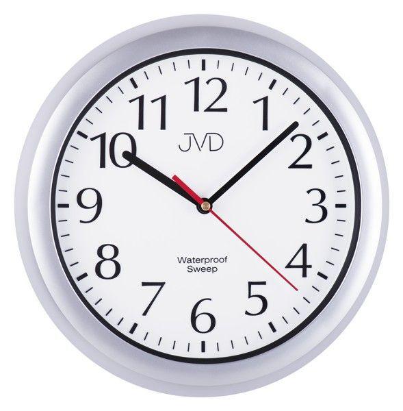 JVD Nástěnné vodotěsné plastové hodiny do bazénové haly, do koupelny SH494.4 sh494.1 stříbrná