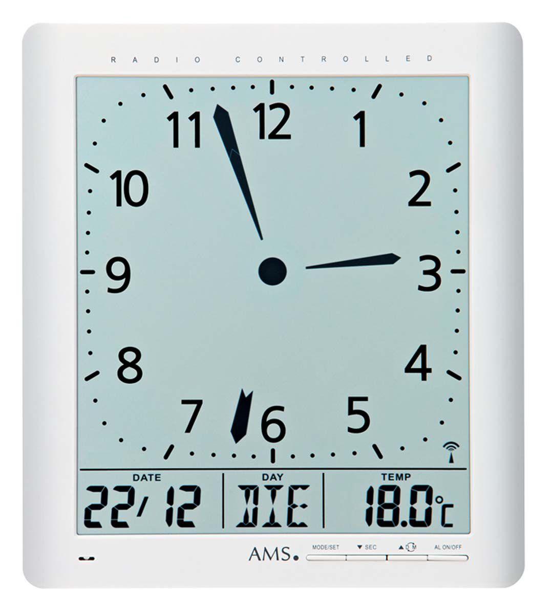 AMS Nástěnné hodiny digitální na stěnu, nástěnné hodiny na zeď, stolní hodiny