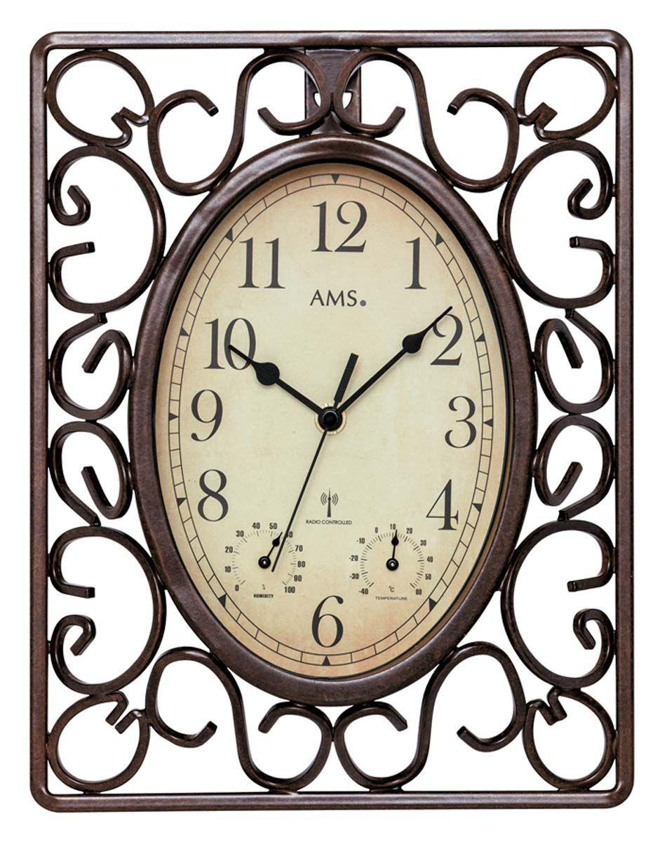 Nástěnné hodiny AMS 5976 rádiem řízené s teploměrem a vlhkoměrem
