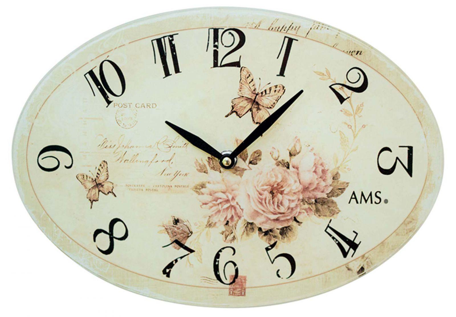 AMS nástěnné hodiny na stěnu oválné, hodiny na zeď