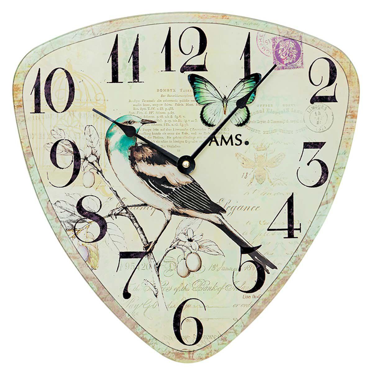 Nástěnné hodiny skleněné AMS 9480 antický motiv