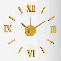 Nalepovací nástěnné hodiny ve zlatém provedení..095