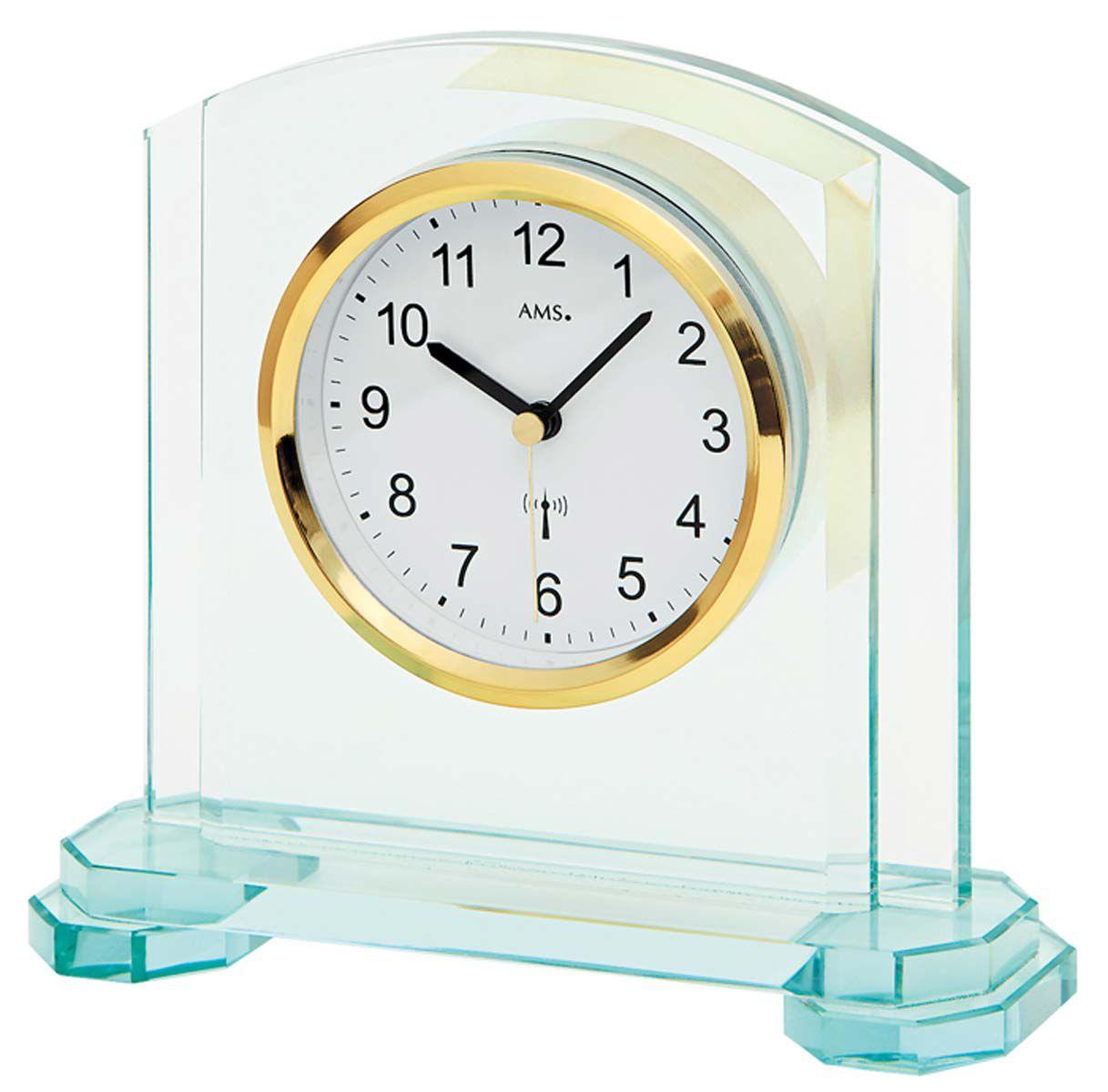 Stolní luxusní hodiny AMS 5147 rádiem řízené skleněné