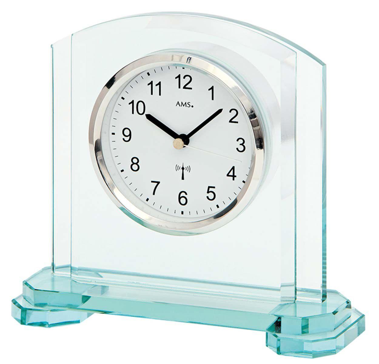 Stolní luxusní hodiny AMS 5148 rádiem řízené skleněné