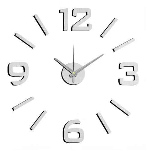 Nástěnné hodiny na stěnu nalepovací stříbrná, nástěnné hodiny samolepící zelená na zeď velké Nástěnné nalepovací hodiny stříbrná 1