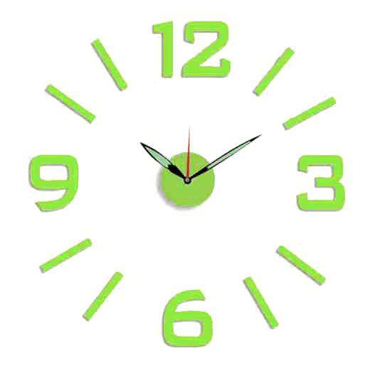 Nástěnné hodiny na stěnu nalepovací stříbrná, nástěnné hodiny samolepící zelená na zeď velké Nástěnné nalepovací hodiny zelená barva s luminiscenční úpravou 2