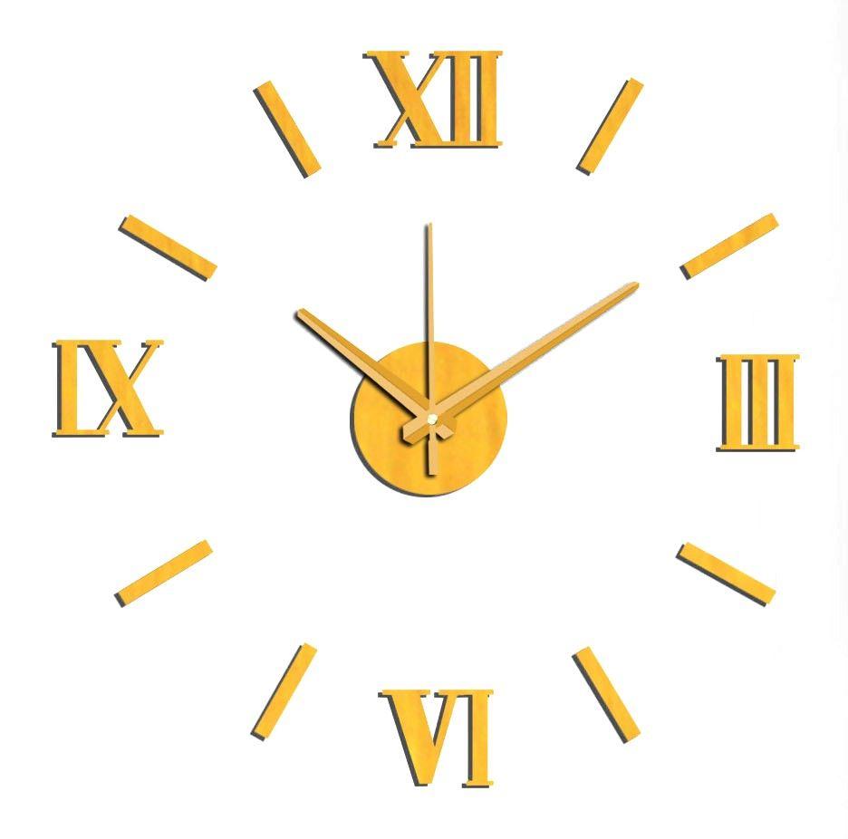Nástěnné hodiny na stěnu nalepovací zlatá, nástěnné hodiny samolepící na zeď velké