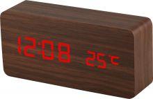 Designový budík ze dřeva s LED číslicemi