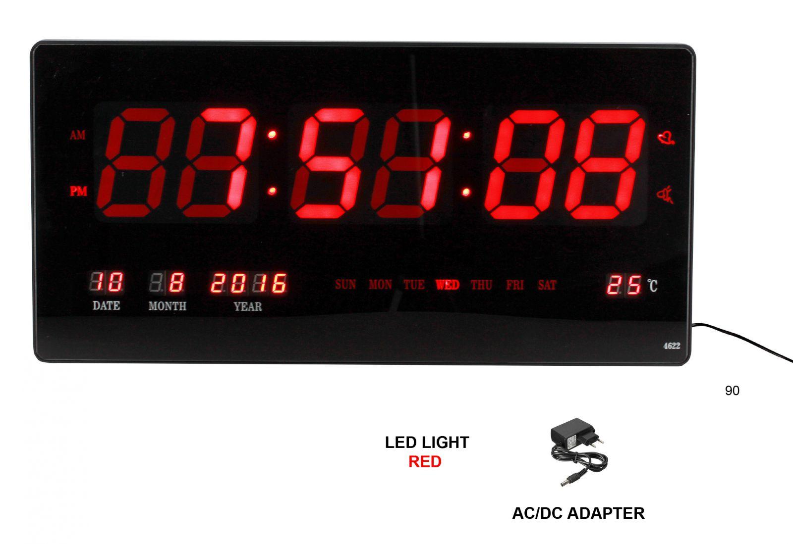 Digitální nástěnné hodiny s napájením ze sítě C02.3566.01467 90 - černá