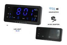 Digitální budík s modrými LED diodami, datem a teploměrem k postavení na stůl nebo pověšení na zeď s možností melodie každou celou hodinu C02.3568