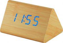 Designový, dřevěný LED budík s datem a teploměrem