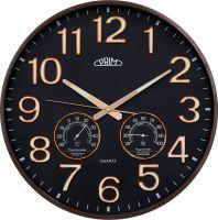 Moderní nástěnné PRIM hodiny s ručičkami a čísly svítícími ve tmě, s teploměrem a vlhkoměrem..036
